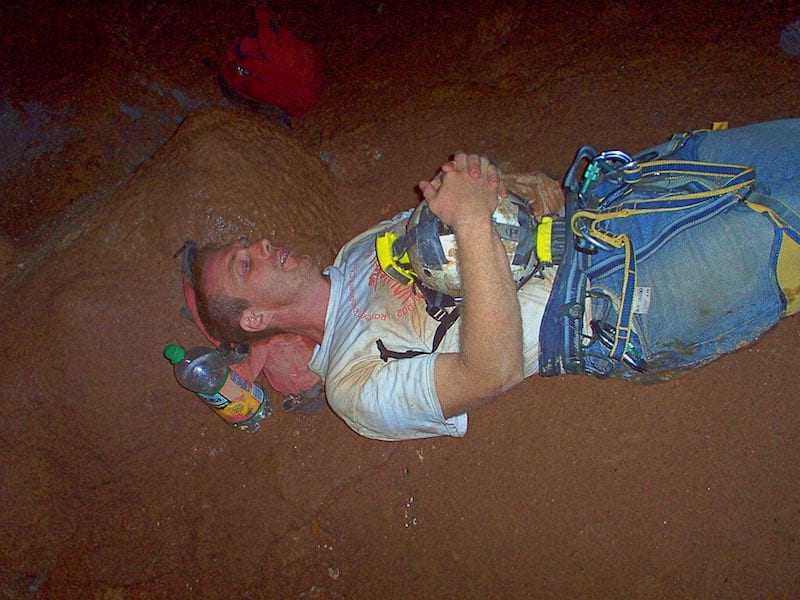 Ed dozing in a cave