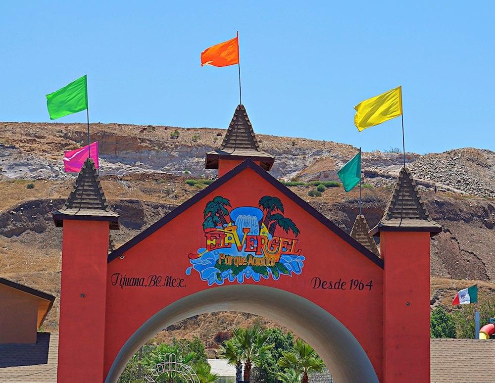 Front gates of Albercas el Vergel, Tijuana's premier water park