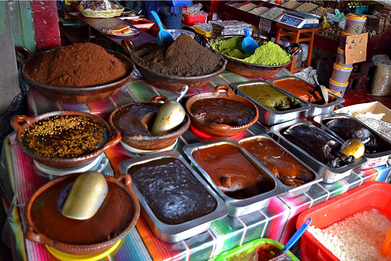 Mole stand at the Hidalgo Market in Tijuana